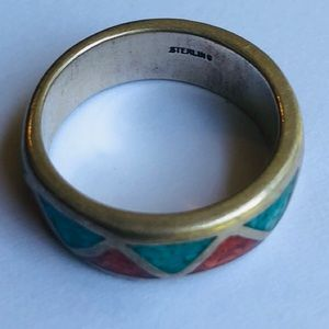 VINTAGE STERLING ZIGZAG TURQUOISE/CORAL CHIPS INLA